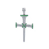 Unisex 14K White Gold Cross Pendant with 0.52 CT Diamonds and 0.45 Ct Emerald