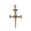 Unisex 14K Yellow Gold Cross Pendant with 0.55 CT Diamonds and 0.50 Ct Sapphire
