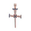 Unisex 14K Rose Gold Cross Pendant with 0.53 CT Diamonds and 0.40 Ct Sapphire