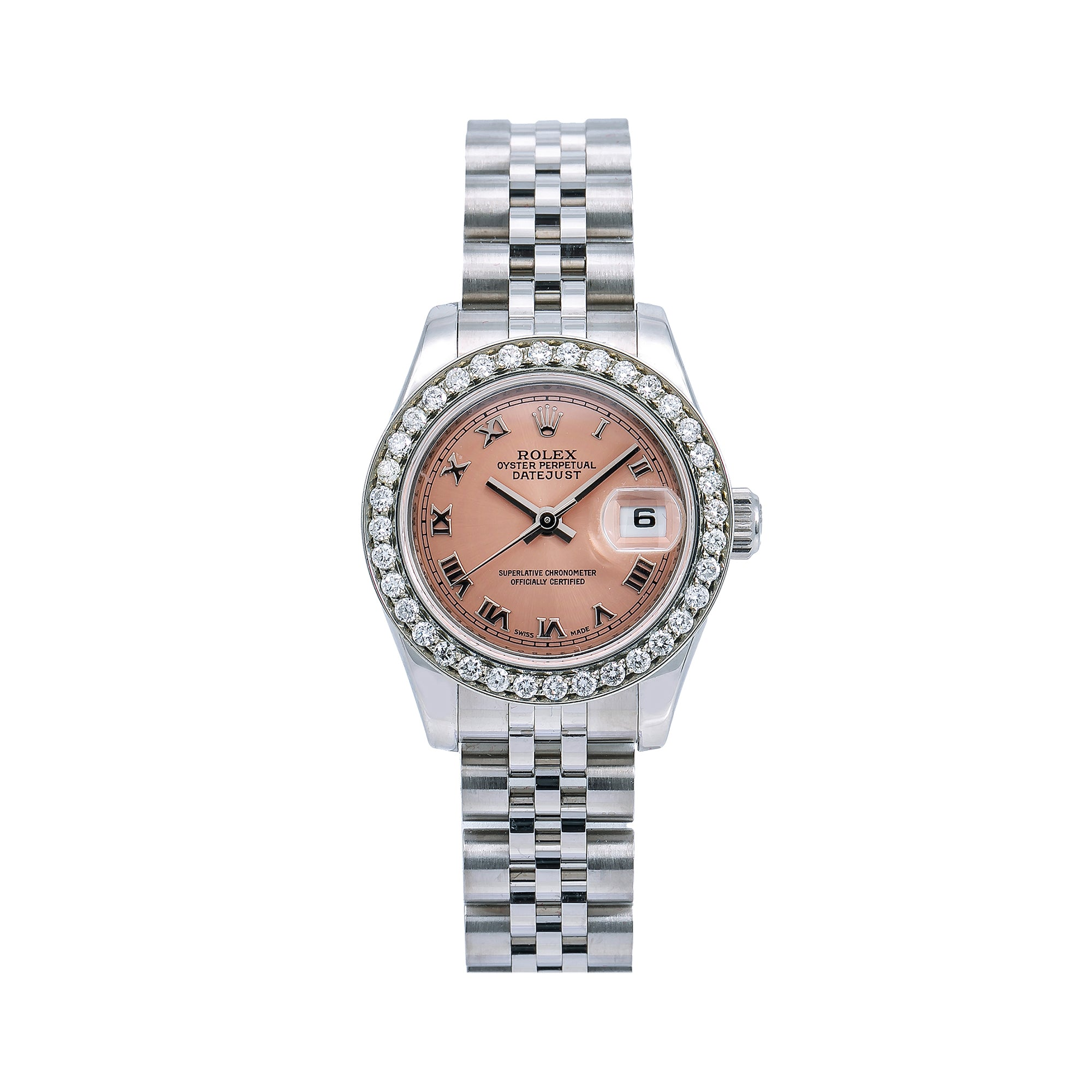 Rolex Lady-Datejust Diamond Watch, 179160 26mm, Salmon Dial With 0.80 CT Diamonds