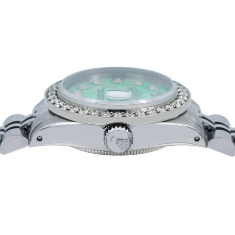 Rolex Lady-Datejust Diamond Watch, 6917 26mm, Green Diamond Dial With 0.90 CT Diamonds