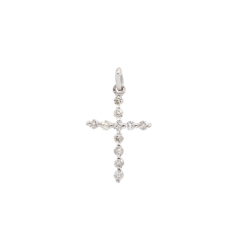 Unisex 18K White Gold Cross Pendant with 0.25 CT Diamonds