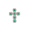 Unisex 18K White Gold Cross Pendant with 0.43 CT Diamonds and 0.47 Ct Emerald