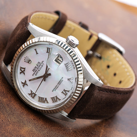 Rolex Datejust 16014 36MM White Dial With Brown Leather Bracelet