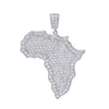Unisex 14K White Gold Africa Pendant with 3.01 CT Diamonds