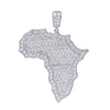 Unisex 14K White Gold Africa Pendant with 3.20 CT Diamonds
