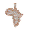 Unisex 14K Rose Gold Africa Pendant with 3.01 CT Diamonds