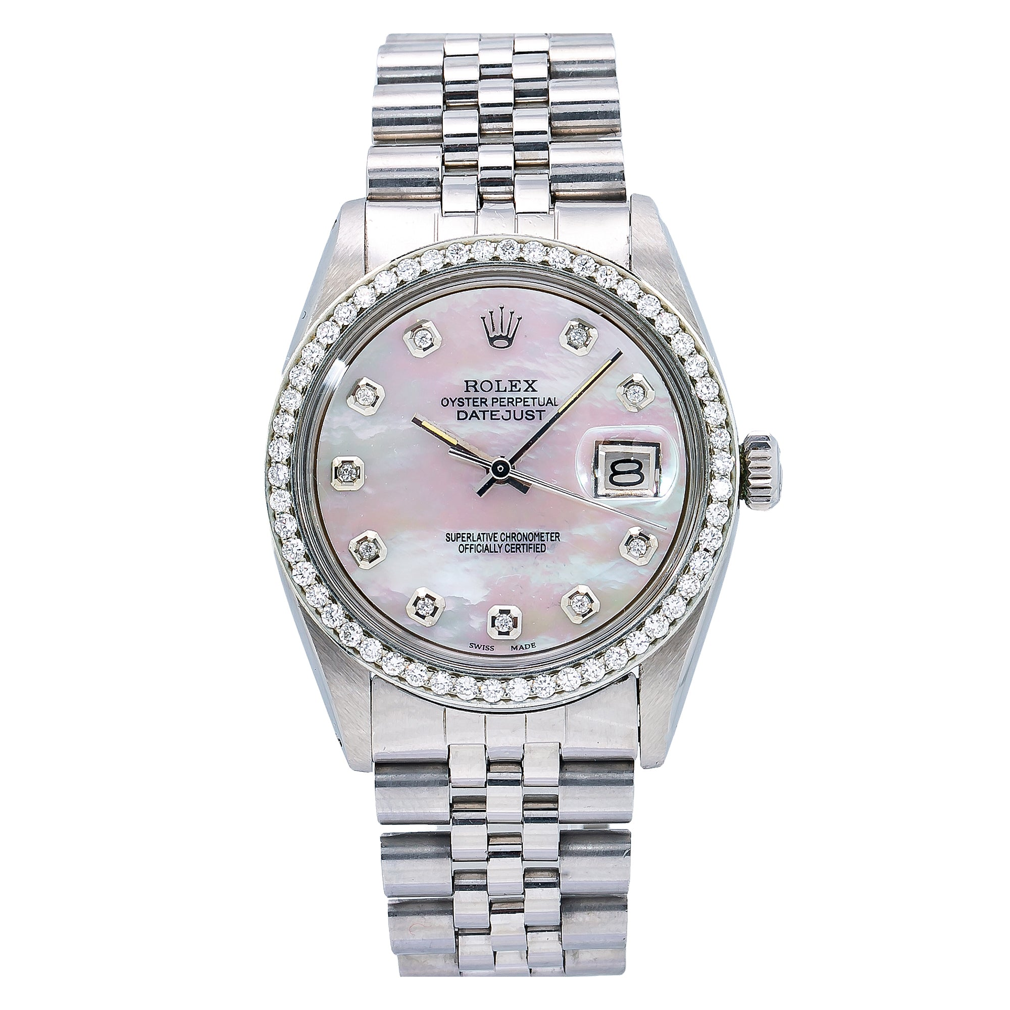 Rolex Datejust 1603 36MM White Mother of Pearl Diamond Dial With 1.10 CT Diamonds