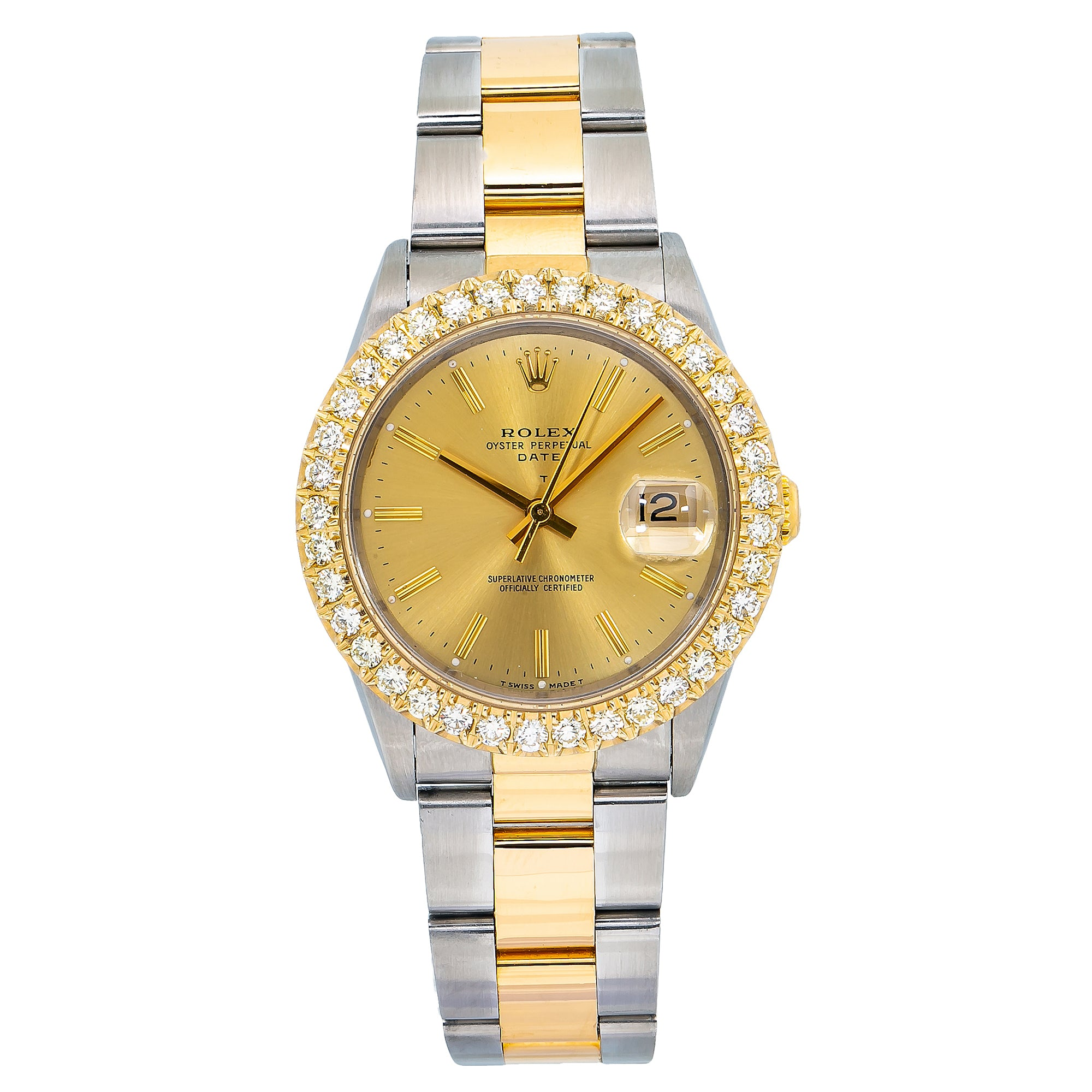 Rolex Oyster Perpetual Date 15233 34MM Champagne Dial With Two Tone Oyster Bracelet