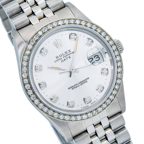 Rolex Oyster Perpetual Date 15000 34MM Silver Dial With Stainless Steel Oyster Bracelet