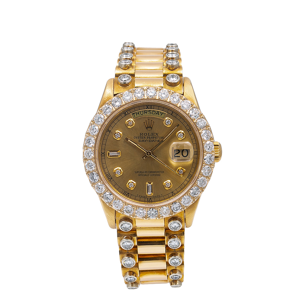 Rolex Day-Date Diamond Watch, 18038 36mm, Champagne Diamond Dial With 5.25 CT Diamonds