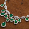"Fancy 18K White Gold 20"" Emerald Prong Set Women's Necklace With 27.10 CT Diamonds"