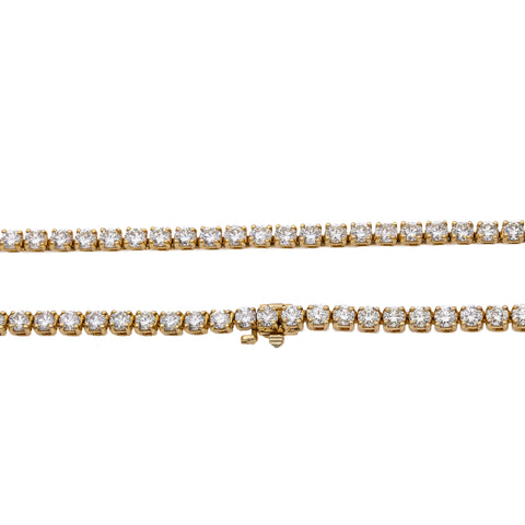 14K Yellow Gold 24'/3.7MM Tennis Chain With 23.25 CT Diamonds
