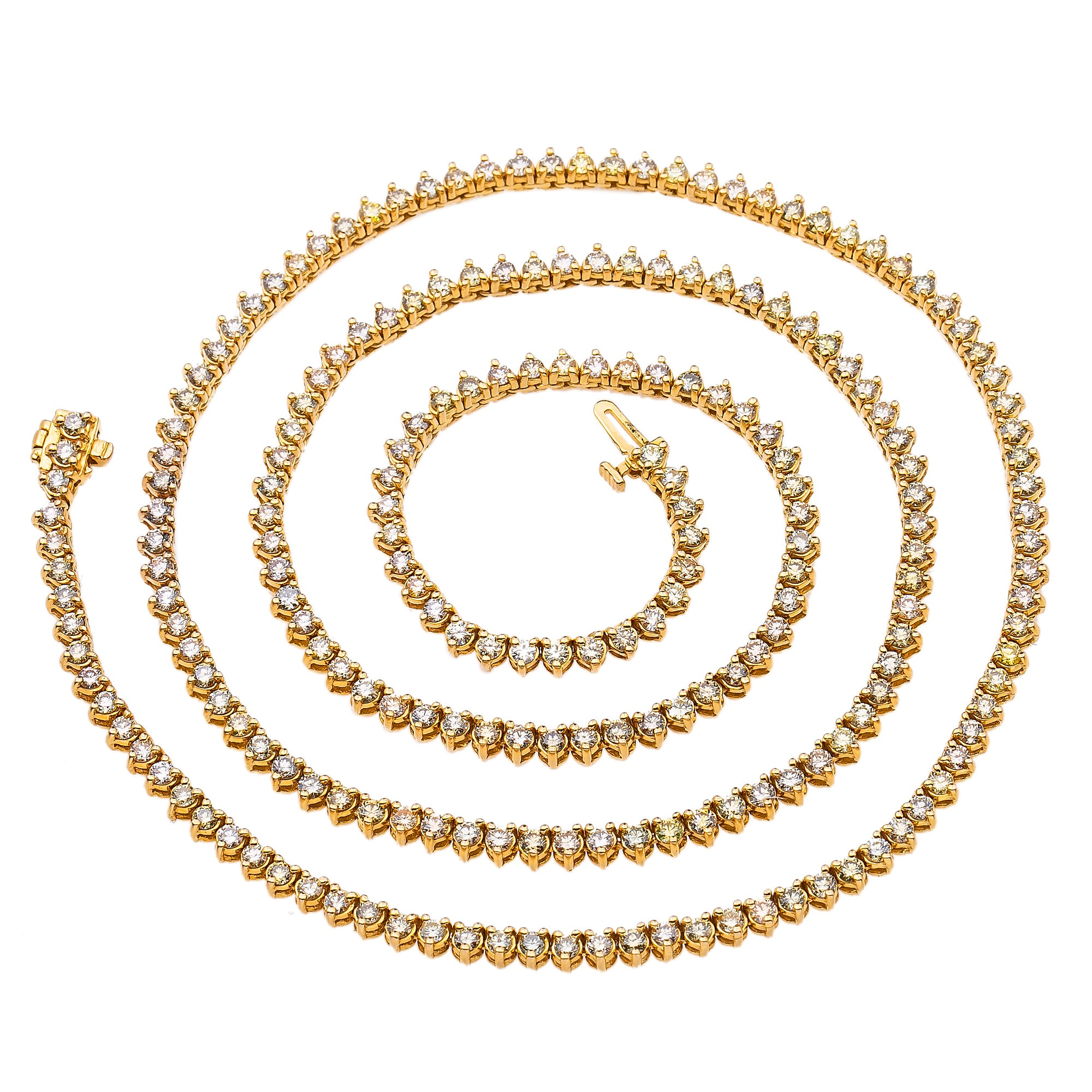 14K Yellow Gold Men's Tennis Chain With 12.00 CT Diamonds