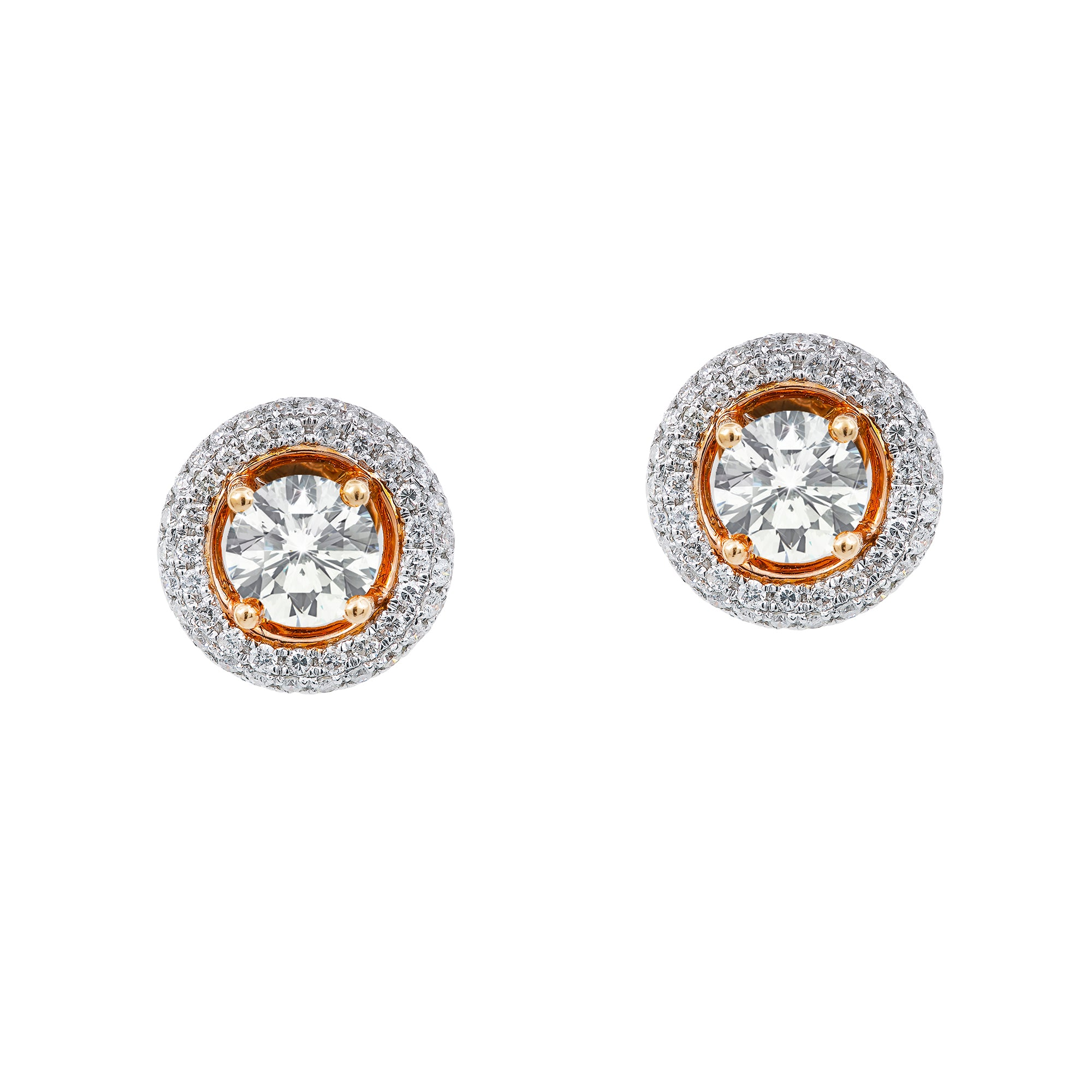 18K Rose Gold Women's Earrings Diamonds