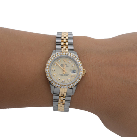 Rolex Oyster Perpetual Ladies Diamond Watch, DateJust 6916 26mm, Champagne Diamond Dial With 1.8 CT Diamonds
