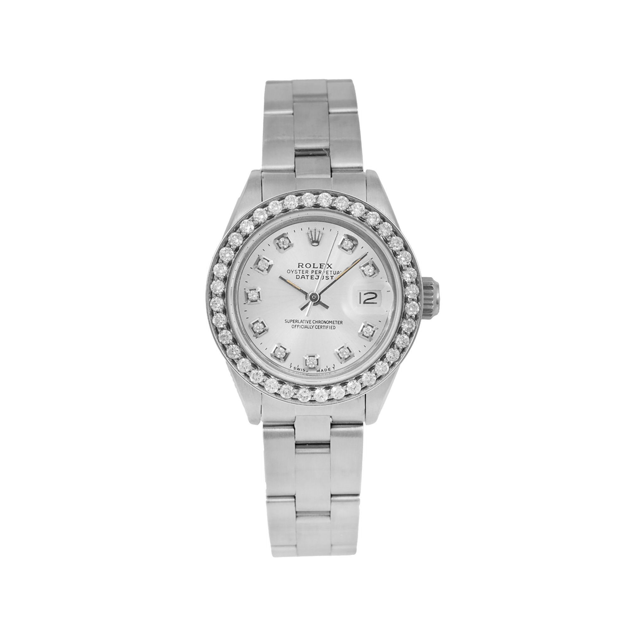 Rolex Datejust Ladies Diamond Watch, 6916 26mm, Silver Diamond Dial With 0.90 CT Diamonds