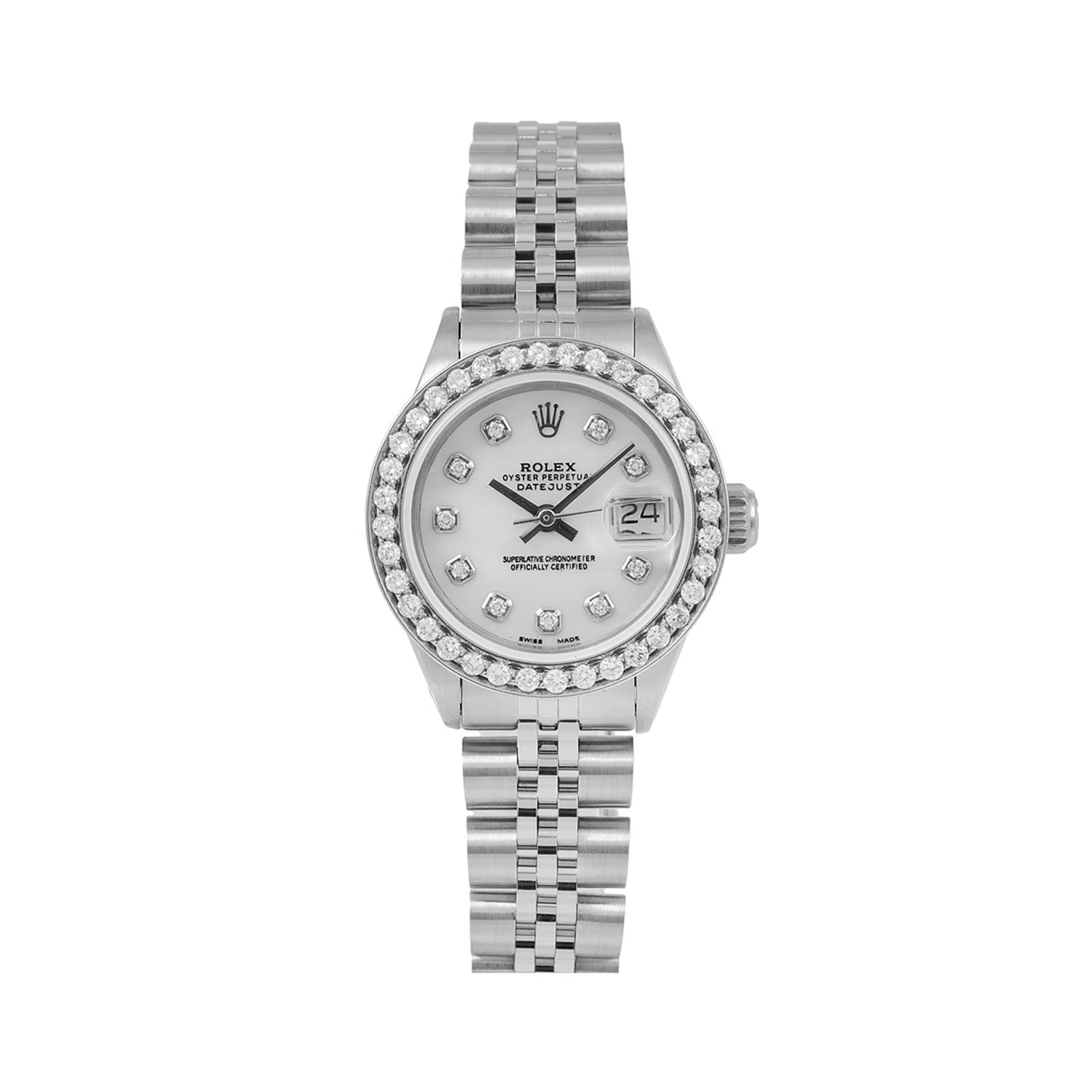 Rolex DateJust Diamond Watch, 6924 26mm, Silver Diamond Dial With 0.90 CT Diamonds