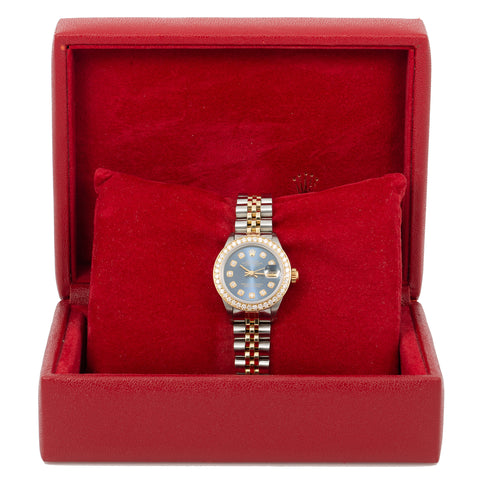 Rolex Lady-Datejust Diamond Watch, 6917 26mm, Blue Diamond Dial With 1.8 CT Diamonds