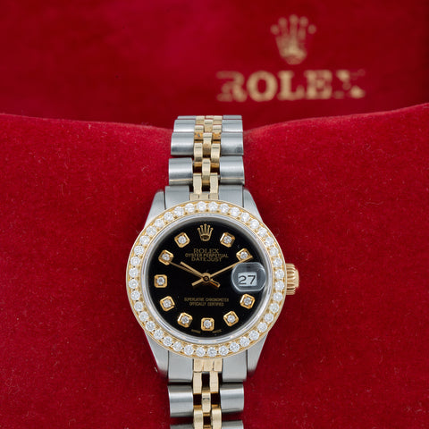 Rolex Oyster Perpetual Ladies Diamond Watch, Date 6919 26mm, Black Diamond Dial With 0.90 CT Diamonds