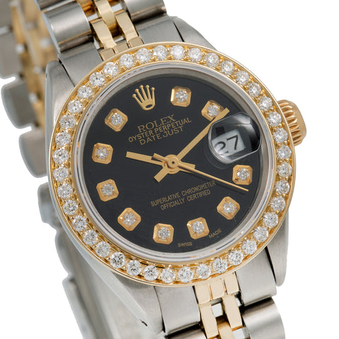 Rolex Oyster Perpetual Lady Date 6919 26MM Black Diamond Dial With 0.90 CT Diamonds