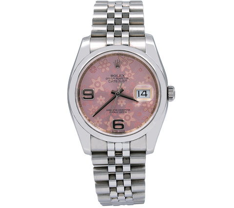 Rolex Datejust 116200 36MM Pink Floral Dial With Stainless Steel Jubilee Bracelet
