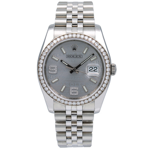 Rolex Datejust Diamond Watch, 116244 36mm, Rhodium Waves With Diamonds With Stainless Steel Jubilee Bracelet