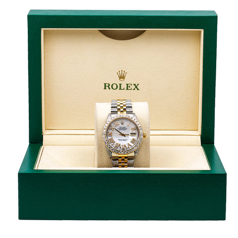 Rolex Datejust Diamond Watch, 1601 36mm, Mother of Pearl Diamond Dial With 8.75 CT Diamond