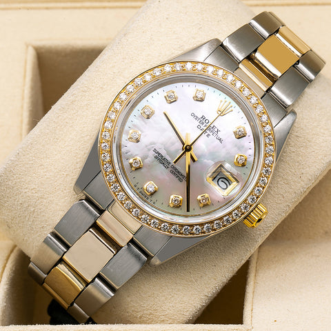 Rolex Oyster Perpetual Diamond Watch, Date 1500 34mm, Mother of Pearl Dial With 1.20 CT Diamonds