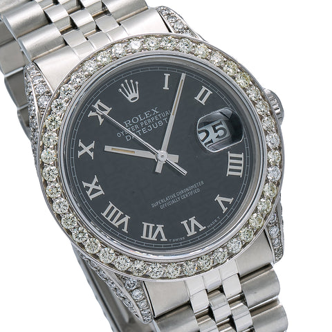 Rolex Datejust Diamond Watch, 16014 36mm, Black Dial With 2.85 CT Diamonds