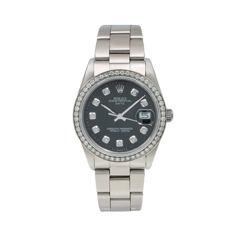 Rolex Oyster Perpetual Diamond Watch, Date 15000 34mm, Black Diamond Dial With 1.05 CT Diamonds