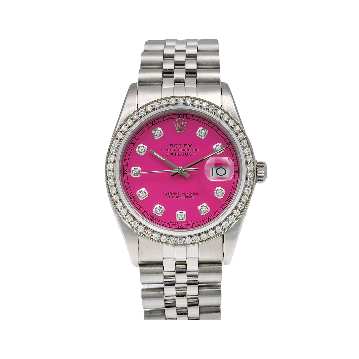 Rolex Datejust Diamond Watch, 16030 36mm, Pink Diamond Dial With 1.20 CT Diamonds