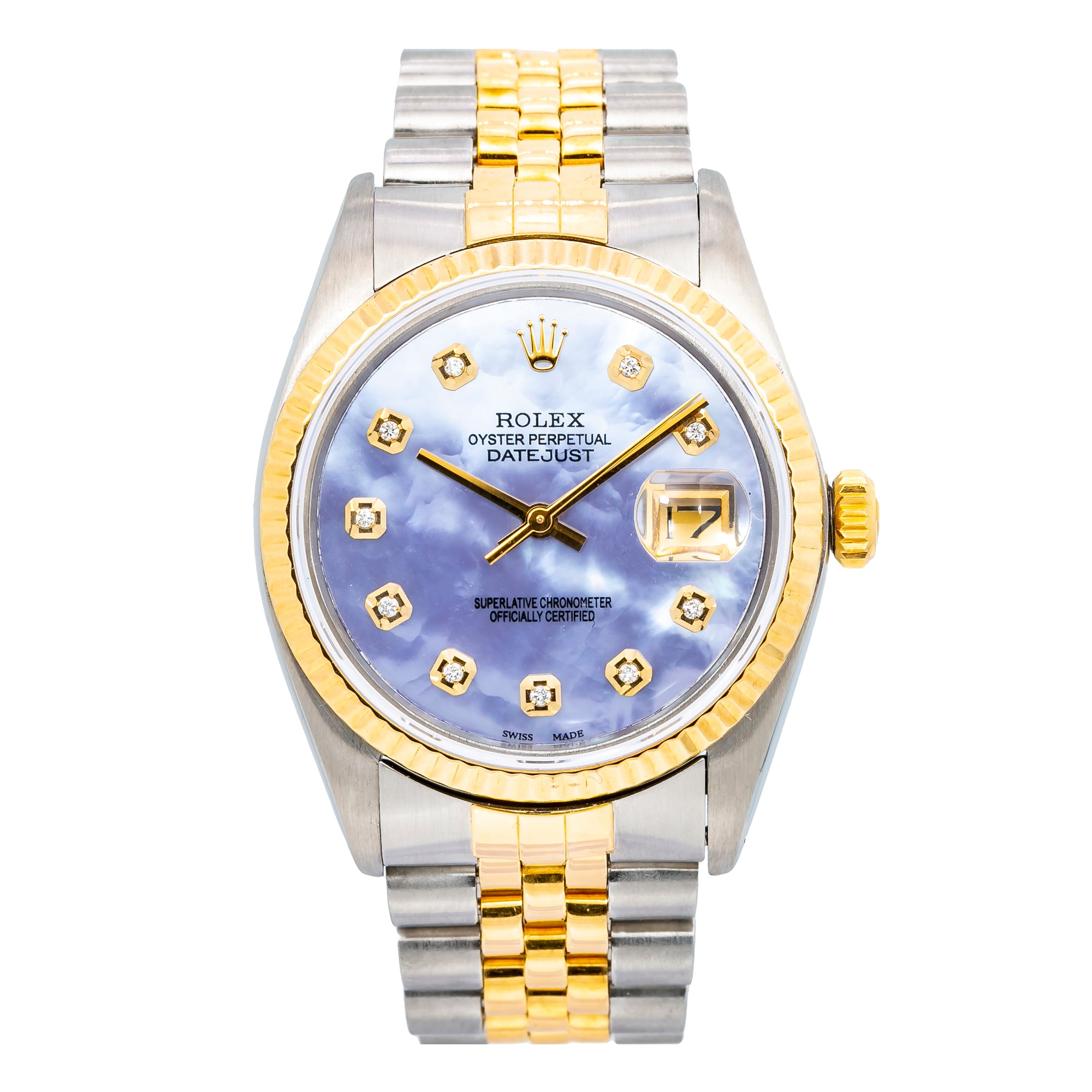 Rolex Datejust Purple Diamond Dial With Two Tone Jubilee Bracelet