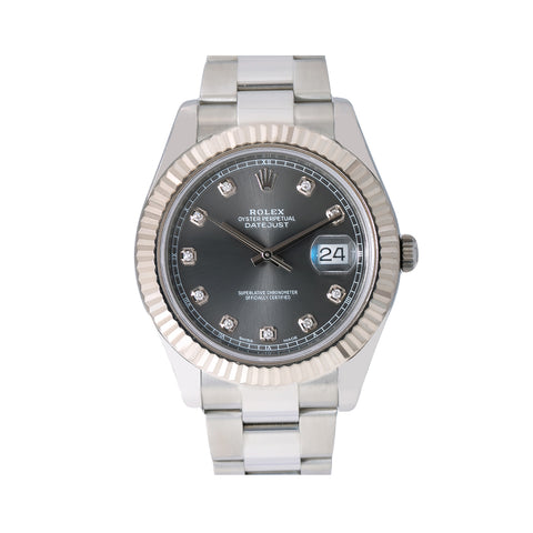 Rolex Datejust II Diamond Watch, 116334 41mm, Factory Gray Diamond Dial With Stainless Steel OysterBracelet