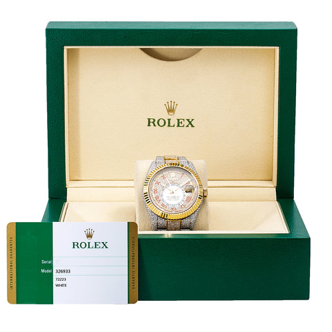 Rolex Sky-Dweller Diamond Watch, 326933 42mm, White Diamond Dial With 25.75 CT Diamonds