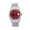 Rolex Datejust 16014 36MM Red Diamond Dial With 1.20 CT Diamonds