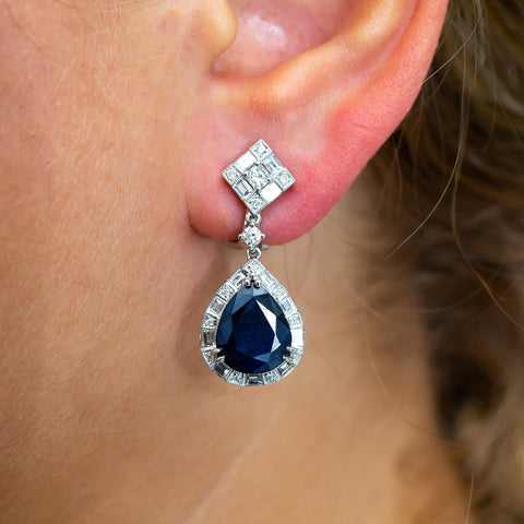 18K White Gold Ladies Earrings With Sapphire and Diamonds