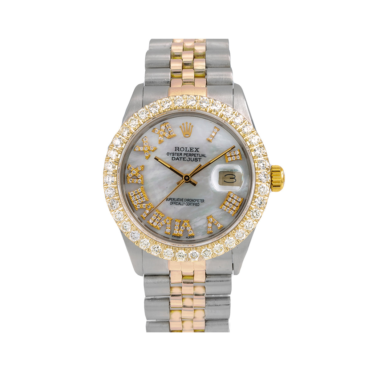 Rolex Datejust 16013 36MM Mother of Pearl Diamond Dial With 3.75 CT Diamonds