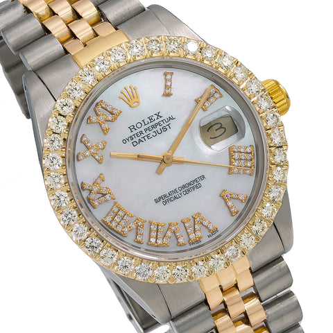 Rolex Datejust Diamond Watch, 16013 36mm, Mother of Pearl Diamond Dial With 3.75 CT Diamon