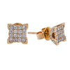 Small 14K Yellow Gold  Unisex  Square Shaped  Diamond Earrings