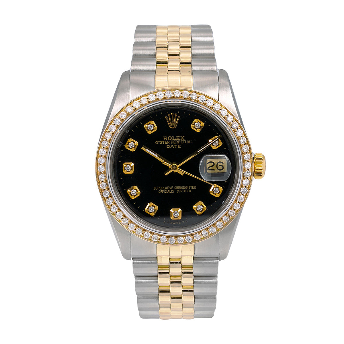 Rolex Datejust Diamond Watch, 16013 36mm, Black Diamond Dial With 1.20 CT Diamonds