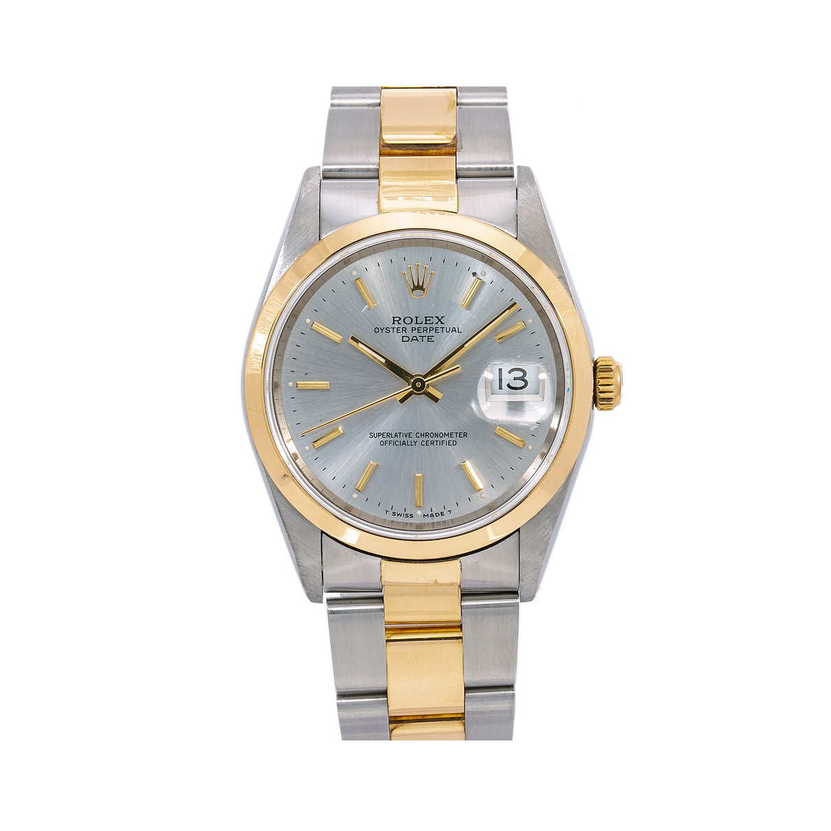 Rolex Oyster Perpetual Date 15203 34MM Silver Dial With Two Tone Oyster Bracelet
