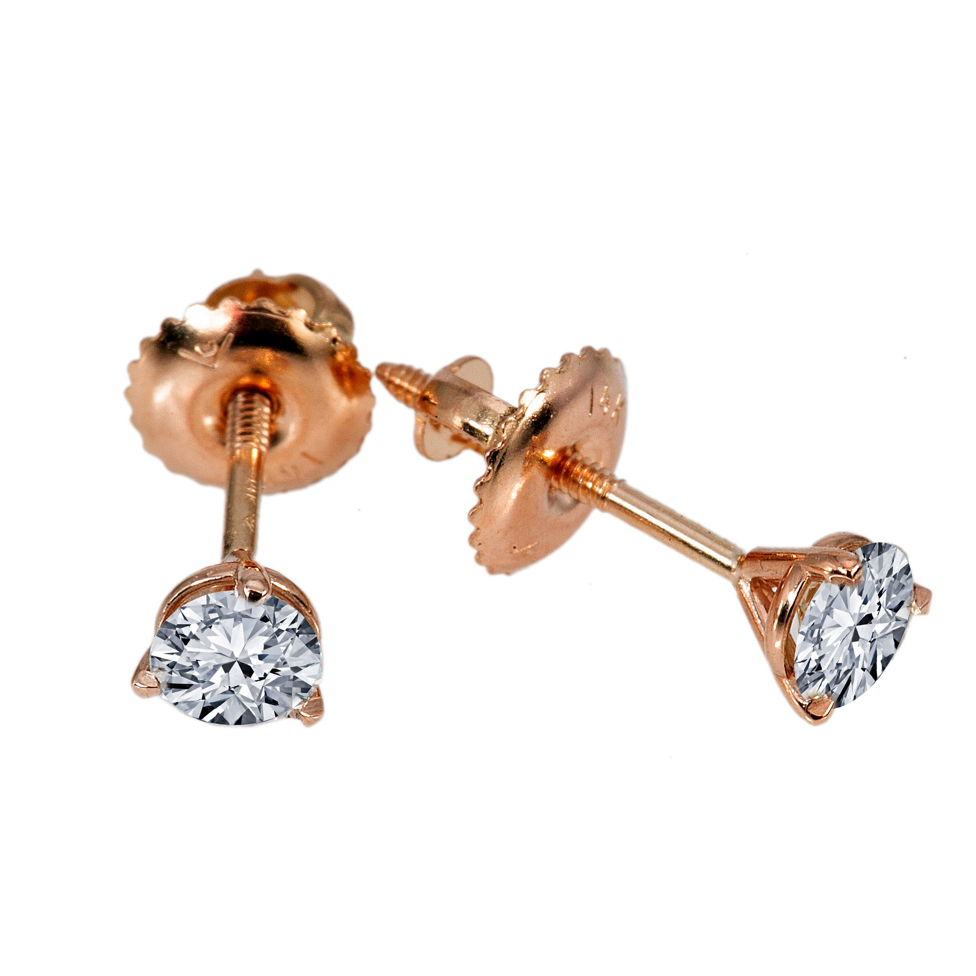 Small 14K Rose Gold  Unisex  Round Shaped  Diamond Earrings