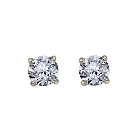 Small 14K White Gold  Unisex  Round Shaped  Diamond Earrings