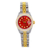 Rolex Datejust 26MM Red Diamond Dial With Two Tone Custom Diamond Bracelet