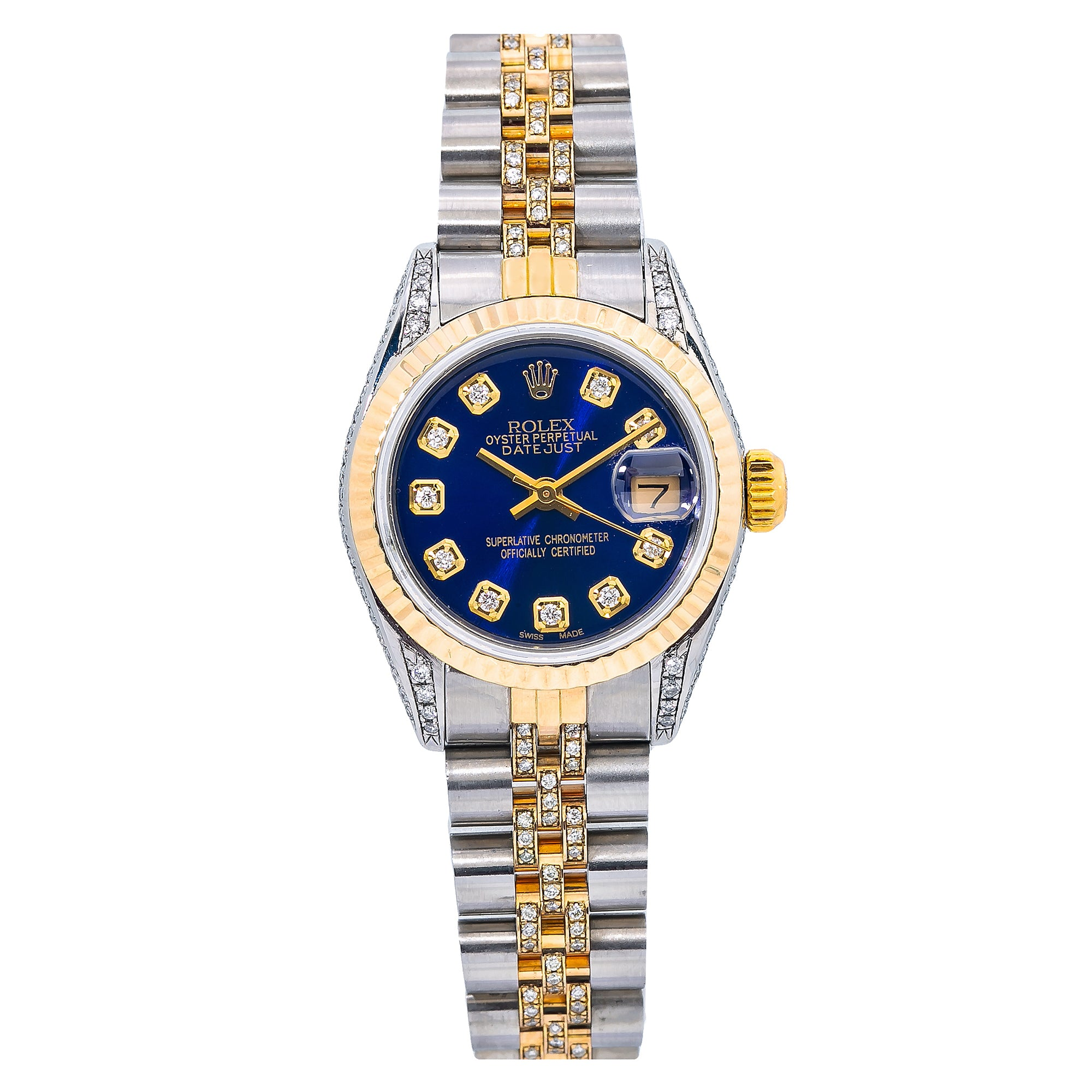 Rolex Lady-Datejust 69173 26MM Blue Diamond Dial With Two Tone Jubilee Bracelet