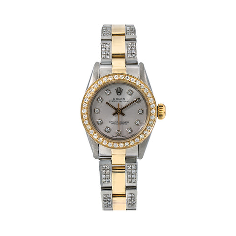 Rolex Oyster Perpetual Diamond Watch, 67193 26mm, Grey Diamond Dial With 2.25 CT Diamonds