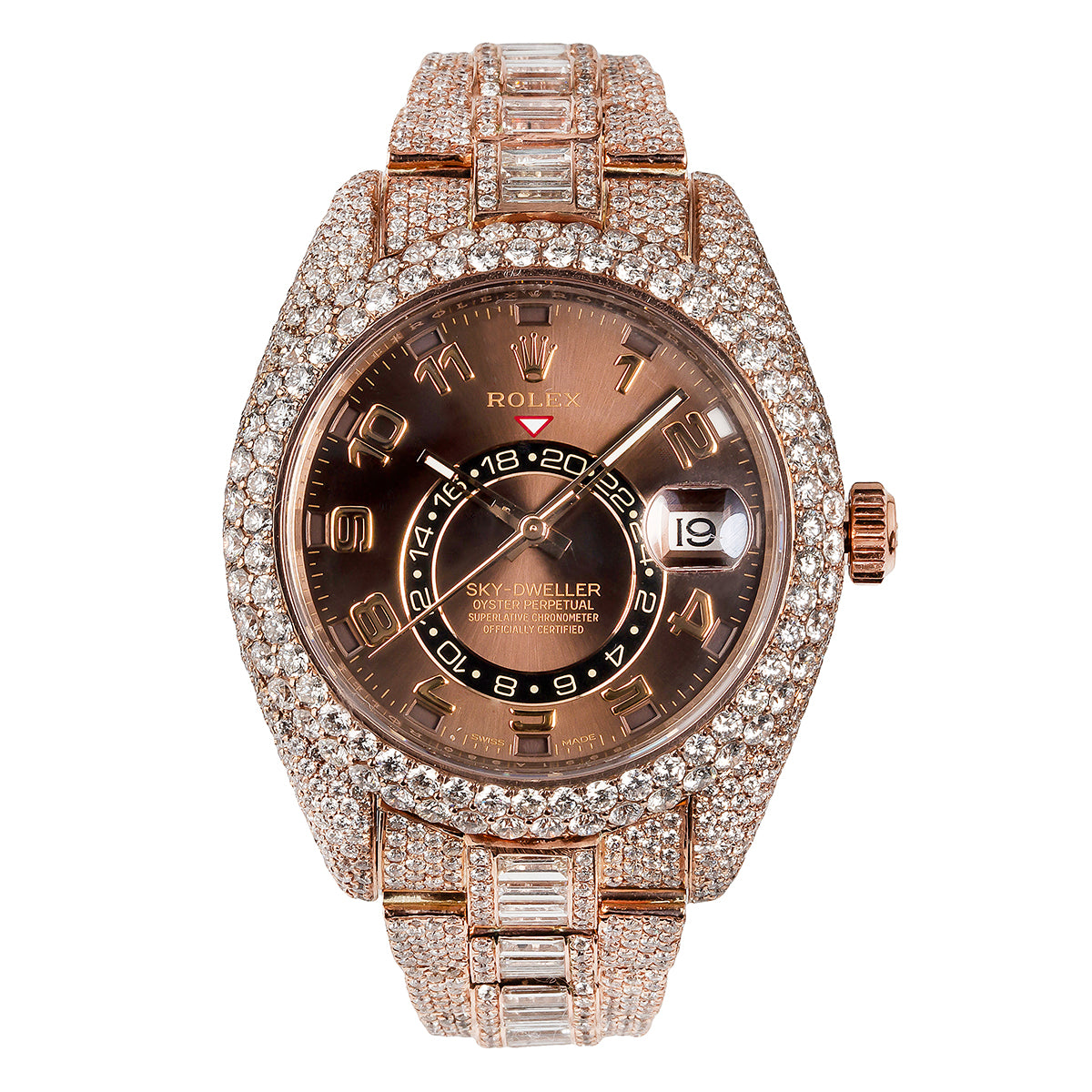 18K Rose Gold Rolex Diamond Watch, Sky-Dweller 326935 42mm, Brown Dial 28.75CT Diamonds