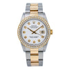 Rolex Datejust 16203 36MM White Roman Numeral Diamond Dial With Two Tone Oyster Bracelet