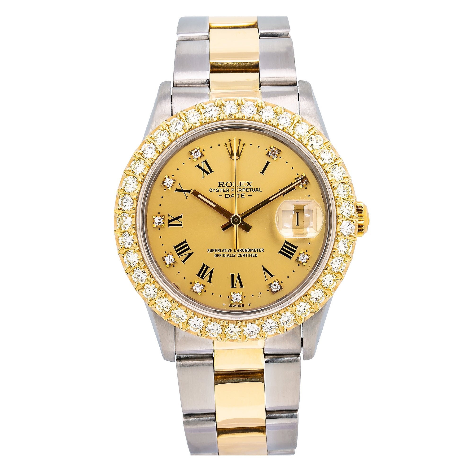 Rolex Oyster Perpetual Date 1500 34MM Champagne Diamond Dial With Two Tone Oyster Bracelet
